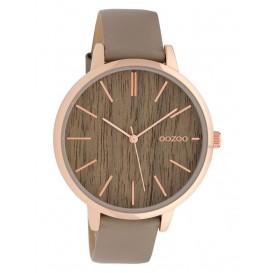 OOZOO C9748 Horloge staal/leder Taupe Oak 42 mm