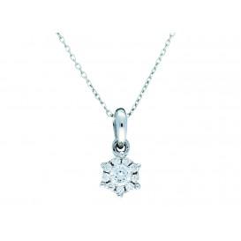 Glow Witgouden Collier met hanger Diamant 0.09 ct Ankerschakel 42+2 cm 202.3023.42