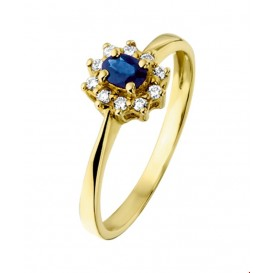 TFT Ring Saffier En Diamant 0.08 Ct. Geelgoud