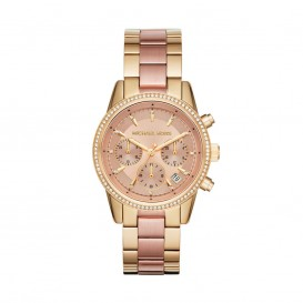 Michael Kors Horloge Ritz staal rosé- en goudkleurig MK6475
