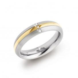 Boccia 0131-04 vergulde titanium ring met diamant Maat 57 is 18mm