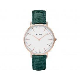 Cluse horloge La Bohéme staal/leder Rosékleurig/Emerald CL18038