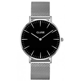 Cluse horloge La Bohéme Mesh silver-black 38 mm CL18106