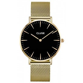 Cluse horloge La Bohéme Mesh gold-black 38 mm CL18110
