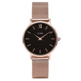 Cluse horloge Minuit Mesh rosegold-black 33 mm CL30016