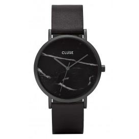 Cluse horloge La Roche staal/leder black-black marble 38 mm CL40001