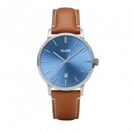Cluse CW0101501005 Herenhorloge Aravis zilverkleurig-blauw-cognac 40 mm