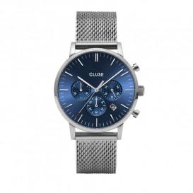 Cluse CW0101502004 Herenhorloge Chrono Mesh Aravis zilverkleurig-blauw 40 mm