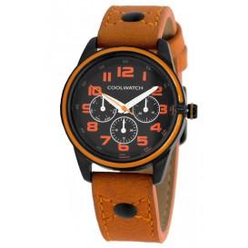 Coolwatch kinderhorloge 'Jack Oranje' staal-leder CW.250
