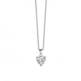 New Bling 9NB-0012 - Zilveren collier met hanger - zirkonia hart 10 mm - lengte 40 + 5 cm - zilverkleurig