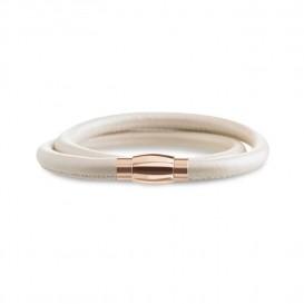 Boccia 0395-02 Dubbel lederen armband met roséverguld titanium slot