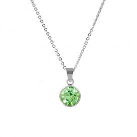 CO88 Collection 8CN-10019 - Stalen collier geboortesteen augustus | peridoot 10 mm - lengte 42 + 5 cm - groen / zilverkleurig