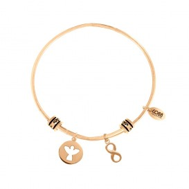CO88 Collection 8CB-25007 - Stalen bangle met bedels - open engel en infinity symbool - one-size - goudkleurig