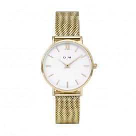 CLUSE CL30010 Minuit Mesh Gold White horloge