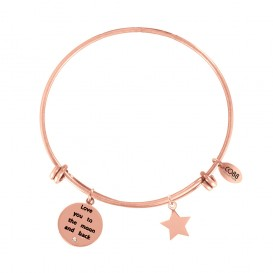 CO88 Collection 8CB-11022 - Stalen bangle met bedels - tekst en ster - one-size - rosékleurig