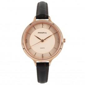 Prisma Horloge (1A) 8394 Dames Stainless Steel - Bruin Leer P.8394 Dameshorloge 1