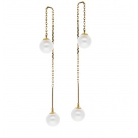 Glow Gouden Oorhangers Gold Collection - Zw Parel  208.2045.00