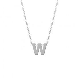 CO88 Collection 8CN-11022 - Stalen collier - letterhanger W 9 mm - lengte 42+5 cm - zilverkleurig