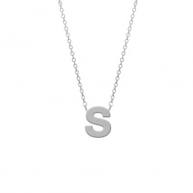 CO88 Collection 8CN-11018 - Stalen collier - letterhanger S 9 mm - lengte 42+5 cm - zilverkleurig