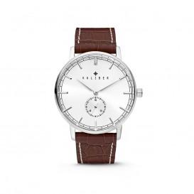 Kaliber 7KW-00001 - Stalen Horloge met Leren Band - Bruin en Zilverkleurig - 40 mm