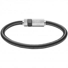 Diesel DX1152040 Armband Stackables staal-nylon zilverkleurig-zwart 18,5 cm