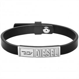 Diesel DX1226040 Armband Stackables staal-leder zilverkleurig-zwart 17-19,5 cm