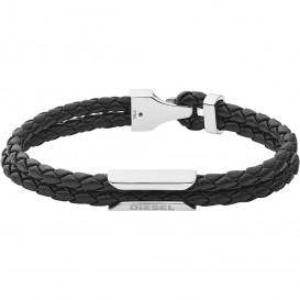 Diesel DX1247040 Armband Stackables staal-leder zilverkleurig-zwart 18,5 cm