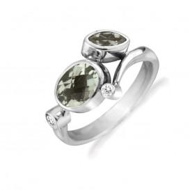 Rabinovich 67403019 Ring zilver met prasioliet en zirkonia Maat 56 is 17.75mm