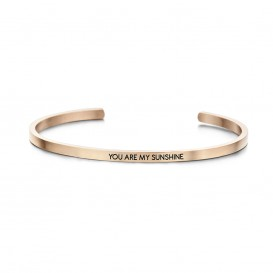 Key Moments 8KM-B00048 Stalen open bangle met tekst you are my sunshine zirkonia one-size rosékleurig
