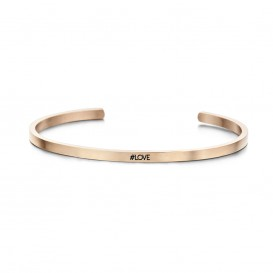 Key Moments 8KM-B00162 Stalen open bangle met tekst #love zirkonia one-size rosékleurig