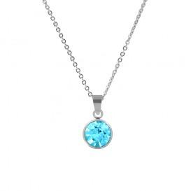 CO88 Collection 8CN-10024 - Stalen collier met geboortesteen maart | aquamarijn 10 mm - lengte 42 + 5 cm - aqua blauw / zilverkleurig