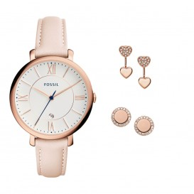 Fossil Set Horloge + Oorsieraden Jacqueline staal/leder rosekleurig-roze ES4202SET