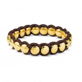 Mi Moneda BRA-VAL-15-31-19 Valencia Bracelet Brown Stainless Steel Gold Plated