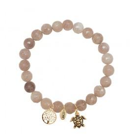 CO88 Collection 8CB-90011 - Armband met bedels - natuursteen en staal - Jade 8 mm - levensboom en schildpad - one-size - bruin / goudkleurig
