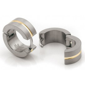 Boccia 0503-03 Oorringen titanium zilver- en goudkleurig 6 x 15 mm