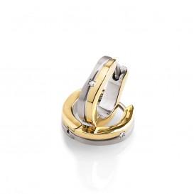 Boccia 0563-04 Vergulde titanium creolen met diamant