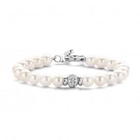 Ti Sento 2808PW Parel armband met zilver slot en zirkonia bal