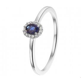 TFT Ring Saffier En Diamant 0.05ct H SI Witgoud