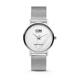 CO88 Collection 8CW-10051 - Horloge - mesh - zilverkleurig - ø 32 mm