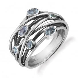 Rabinovich 64703006 Ring zilver geoxideerd met blauwe topaas
