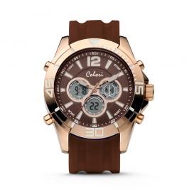 Colori Urban 5-CLD078 - Horloge - siliconen band - bruin - 47 mm