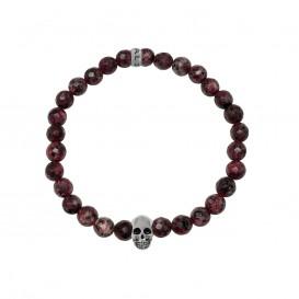 Kaliber 7KB-0067M - Heren armband met beads - schedel - Floral Jade natuursteen 6 mm - maat M (18 cm) - rood / zilverkleurig
