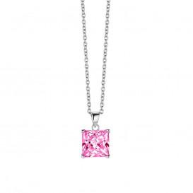 New Bling 9NB-0033 - Zilveren collier met hanger - zirkonia vierkant 10 mm - lengte 40 + 5 cm - zilverkleurig / roze