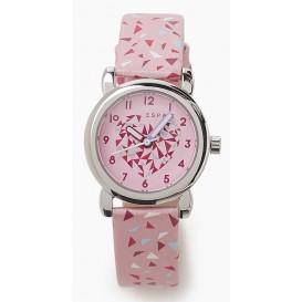 Esprit Kinderhorloge + armband Pink Triangle ES906494009. Vrolijk meisjeshorloge in de kleuren roze, paars, wit en lichtblauw. De roze wijzerplaat heeft een leuk hartje op de plaat en duidelijke tijdaanduiding. De PU lederen band is ro