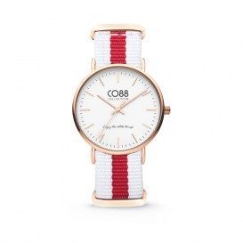 CO88 Collection 8CW-10028 - Horloge - nato nylon - wit/rood - 36 mm
