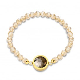 Mi Moneda BRA-SEL-02-19 Selma Bracelet Stainless Steel Gold Plated With Champagne Beads And Xs Moneda