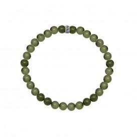 Kaliber 7KB-0059L - Heren armband met stalen elementen - Spectroliet natuursteen 6 mm - maat L (20 cm) - groen / zilverkleurig