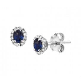 Oorknoppen Saffier Diamant 0.09ct (2x0.045ct) H SI Witgoud Glanzend 6 mm x 5 mm