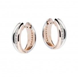 Elegance Oorbellen zilveren klapcreolen met zirconia rosékleurig 15 x 5 mm 107.5414.00