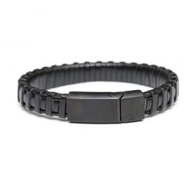 Frank 1967 Armband Leder/Staal zwart 22 cm 7FB-0164